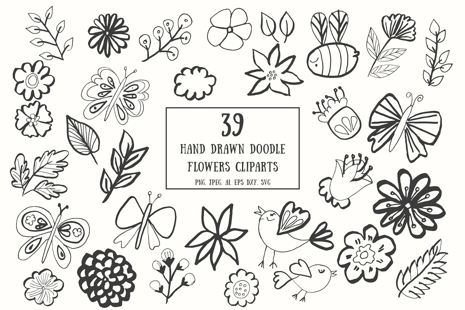 35 Handdrawn Doodle Flowers Cliparts