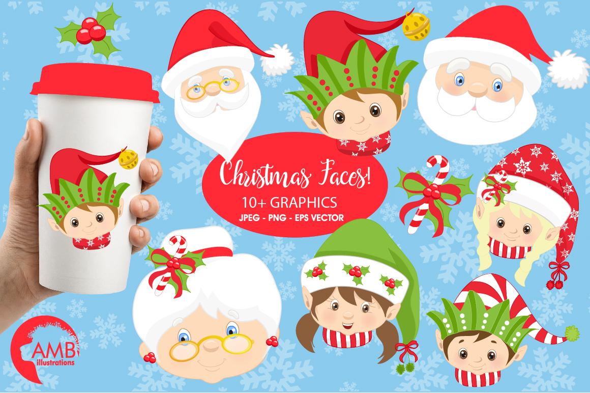 Santa Mama Claus Elves Snowmen Faces Clipart Graphics