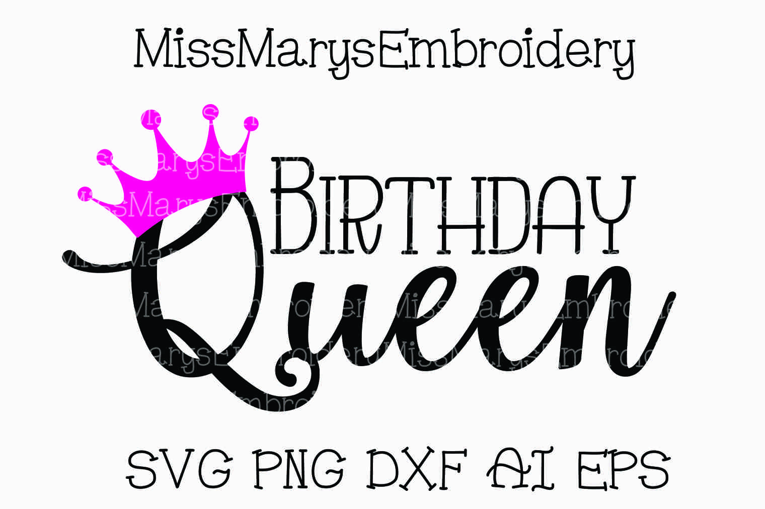 Birthday Queen Svg Cutting File Dxf Ai Eps