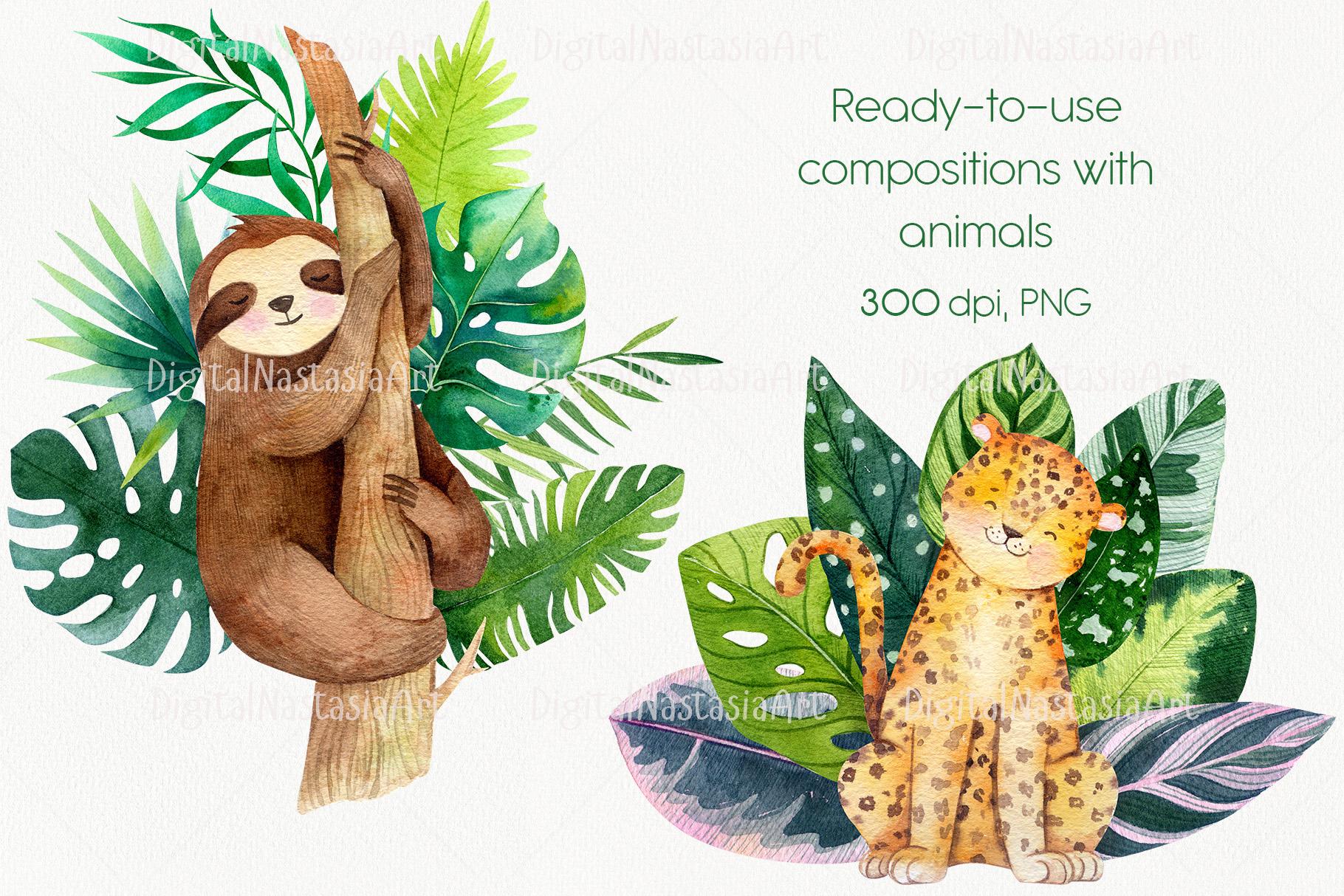 Cute Exotic Jungle Animals Jungle Patterns Vol 2