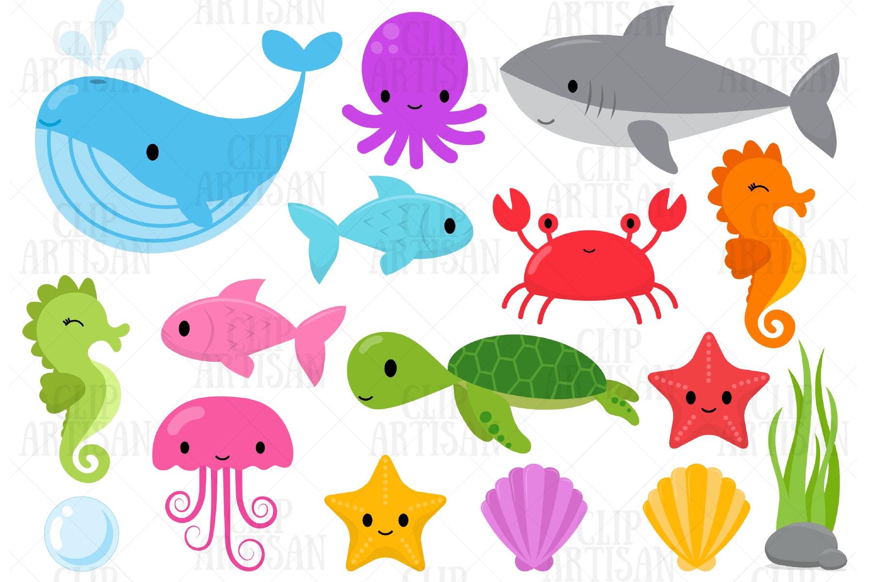 Sea Animals Clip Art Ocean Creatures