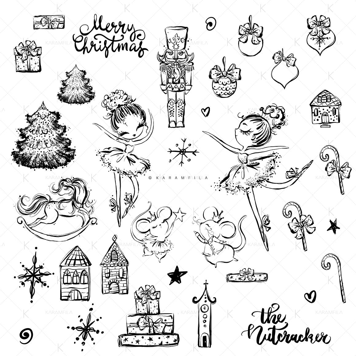 Nutcracker Christmas Doodle Clipart