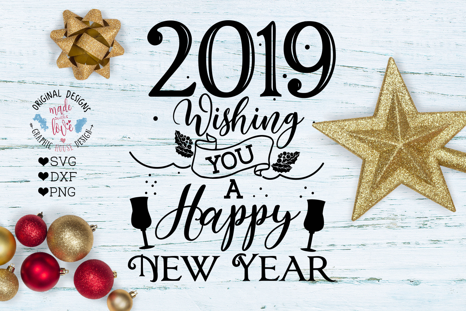 2019 Happy New Year Cut File 2019 New Year Svg