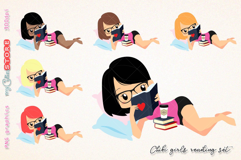 Chibi Girl Reading A Book Clipart, Woman Read A Book Clip