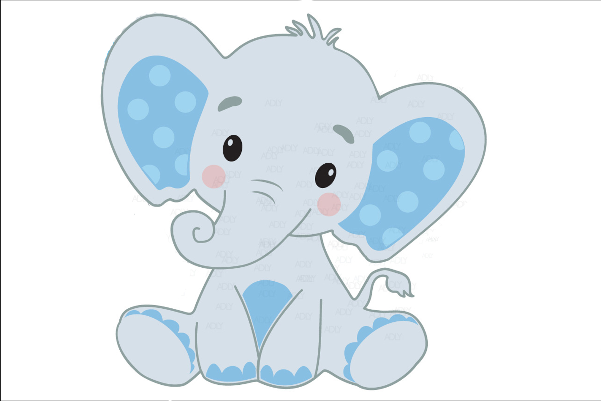 Cute Baby Boy Elephant With Blue Ears In Vector Format