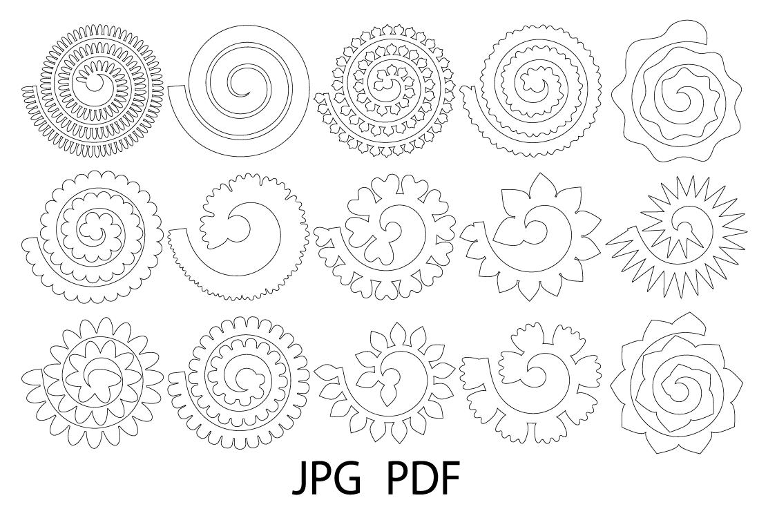 Rolled Paper Flower Templates Svg 3d Rose Svg Origami Rose