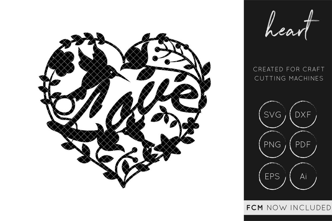 Download Love Heart SVG Cut File - DXF Cut File / FCM Cut File