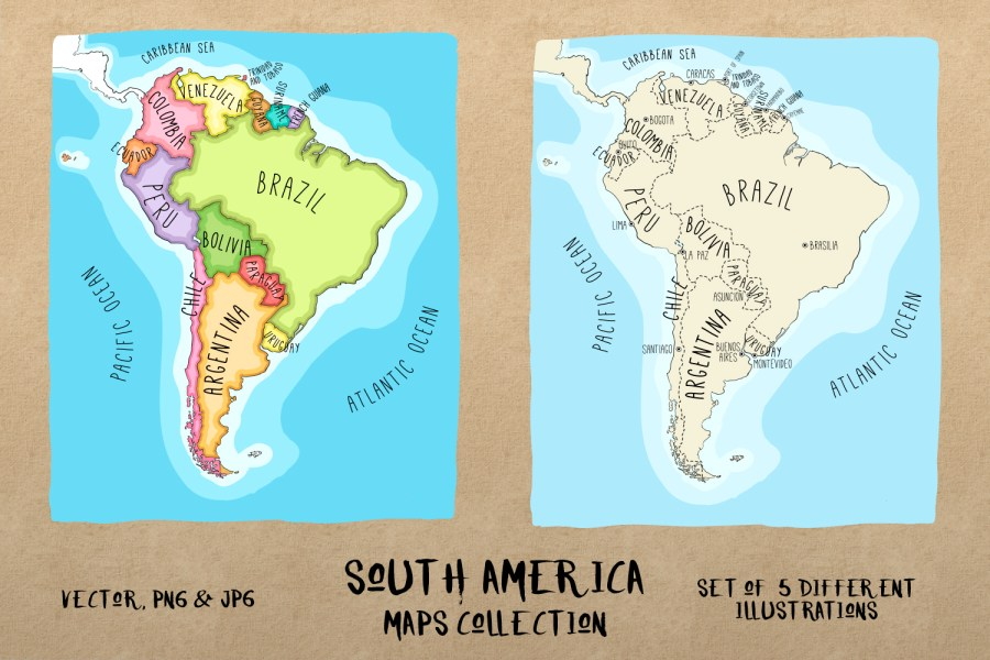 South America Maps Collection by Lara F   Design Bundles South America Maps Collection example image 4
