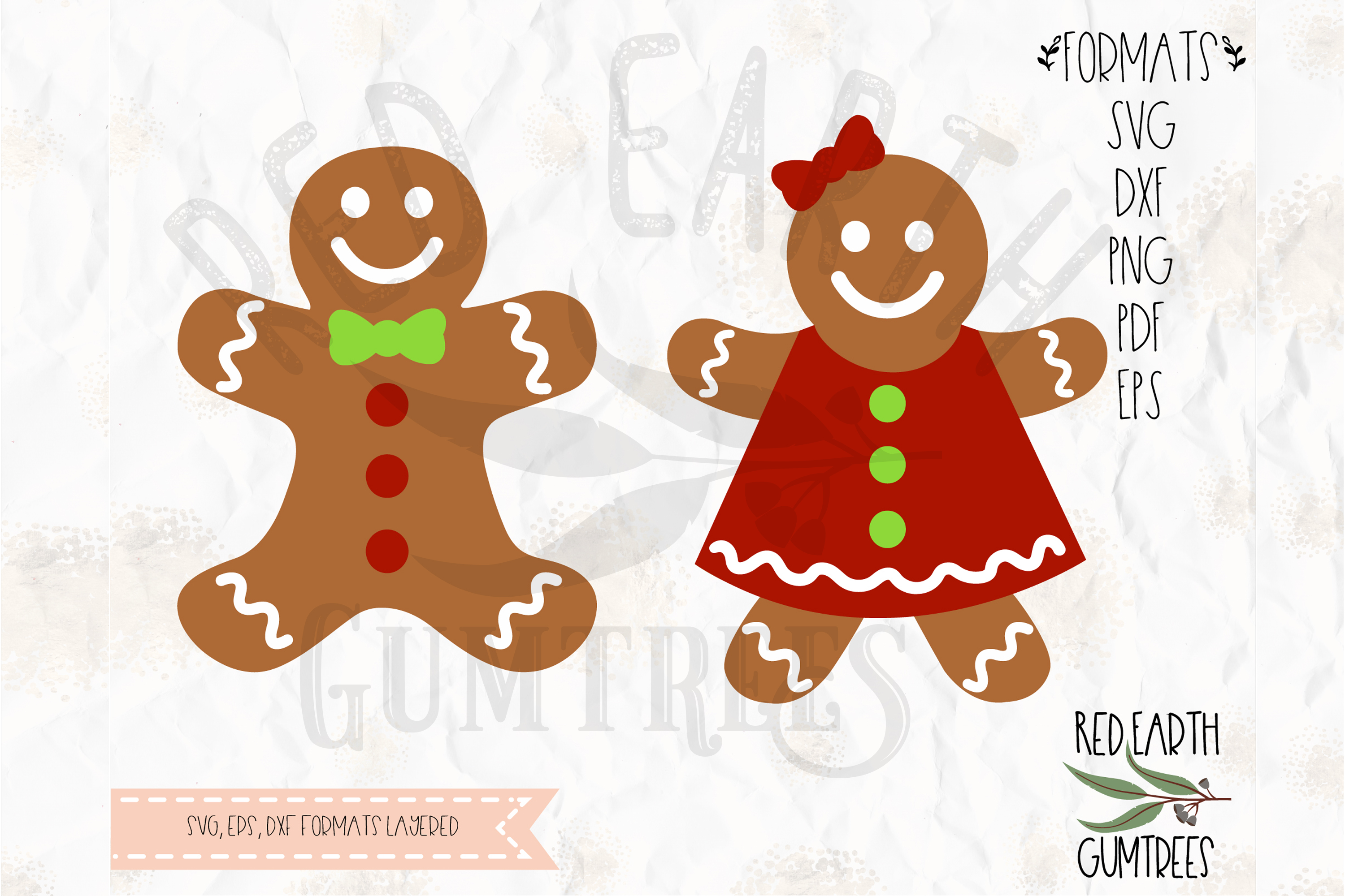 Gingerbread Man Gingerbread Woman In Svg Dxf Eps