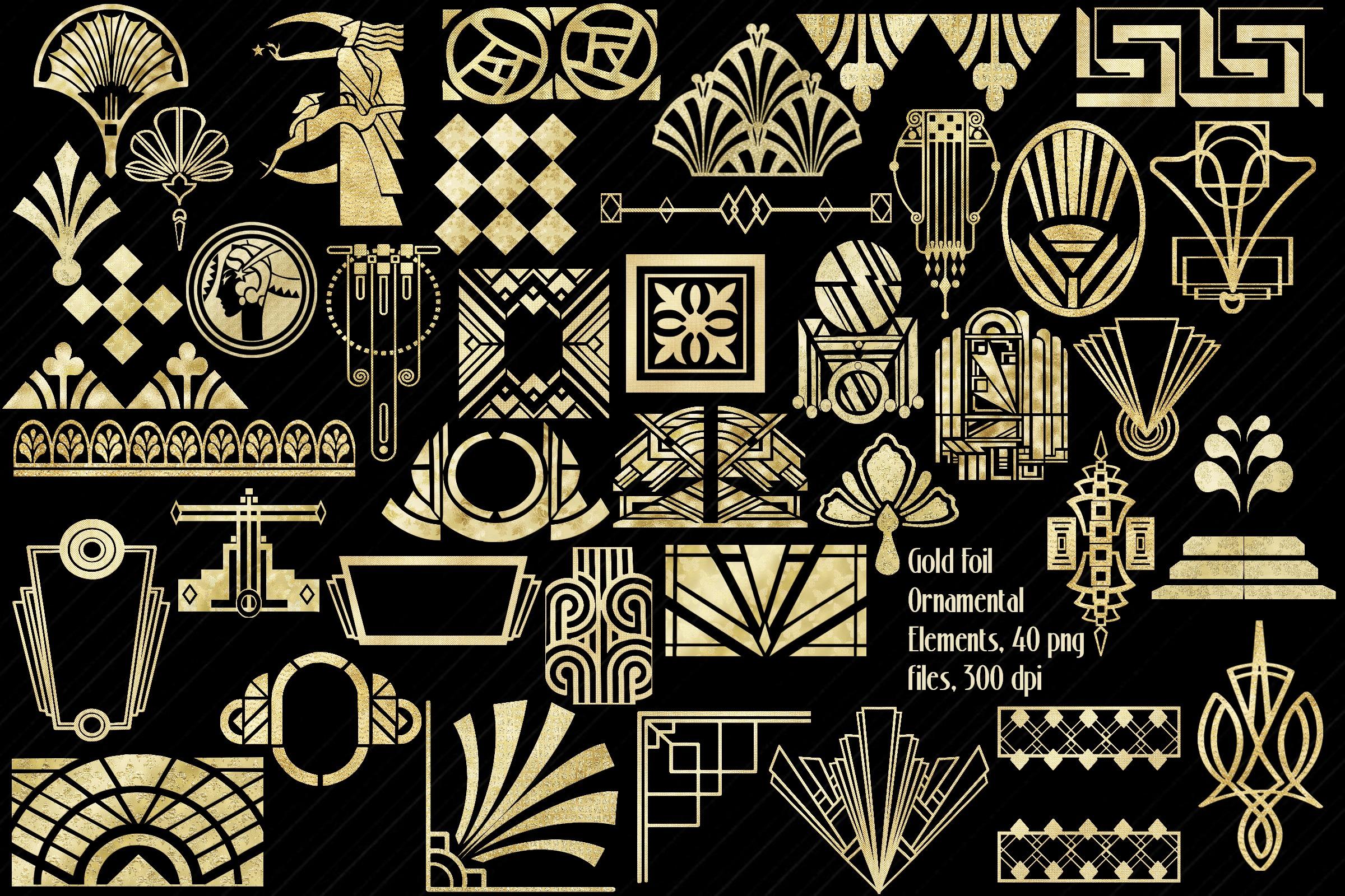 Art Deco Gold Foil Ornamental Elements Clip Art