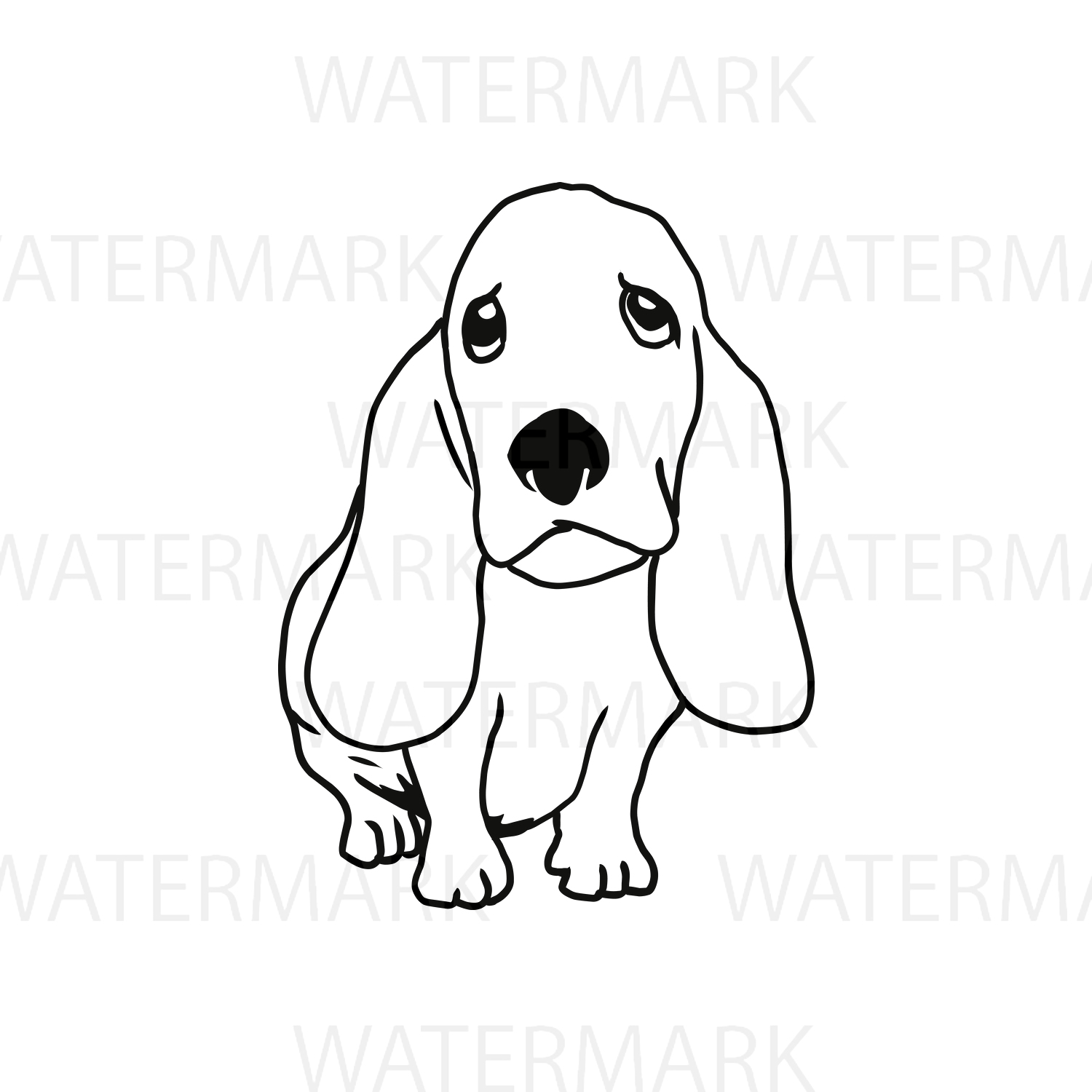 Cute Dogs C Basset Hound Outline