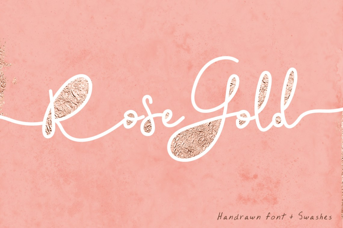 Download Rose Gold Font and Swatches (147929) | Script | Font Bundles
