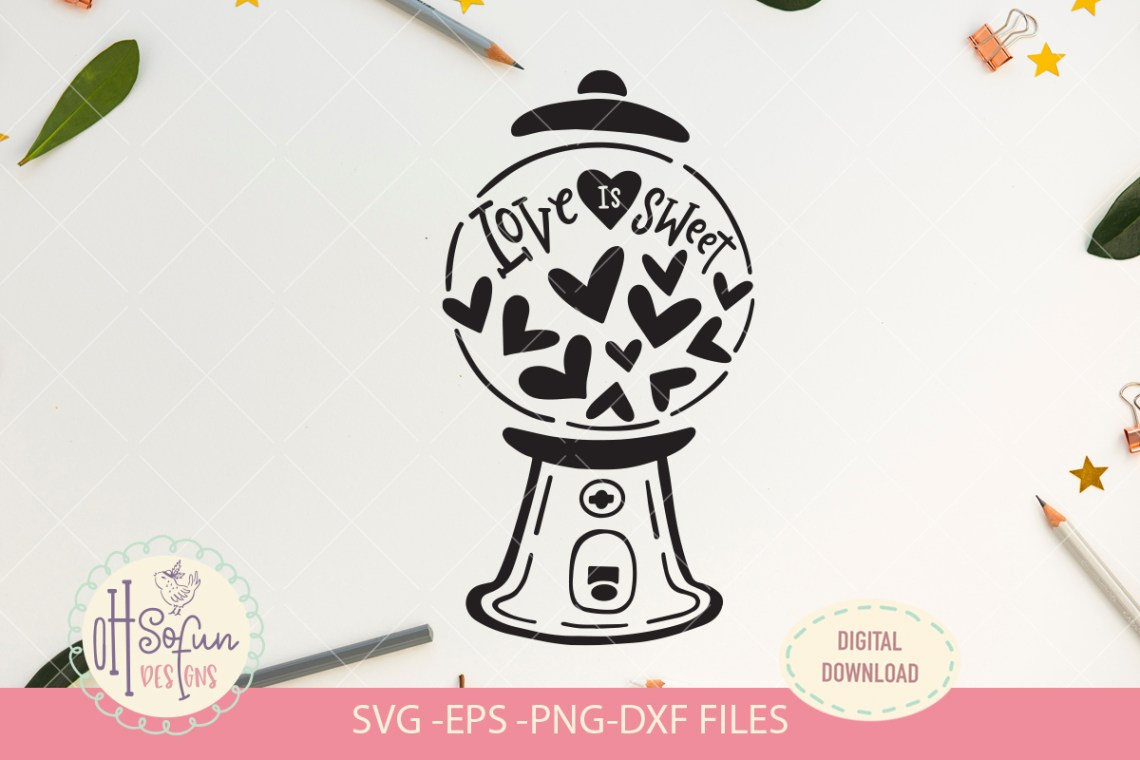 Download Love is sweet, heart gumball machine, SVG