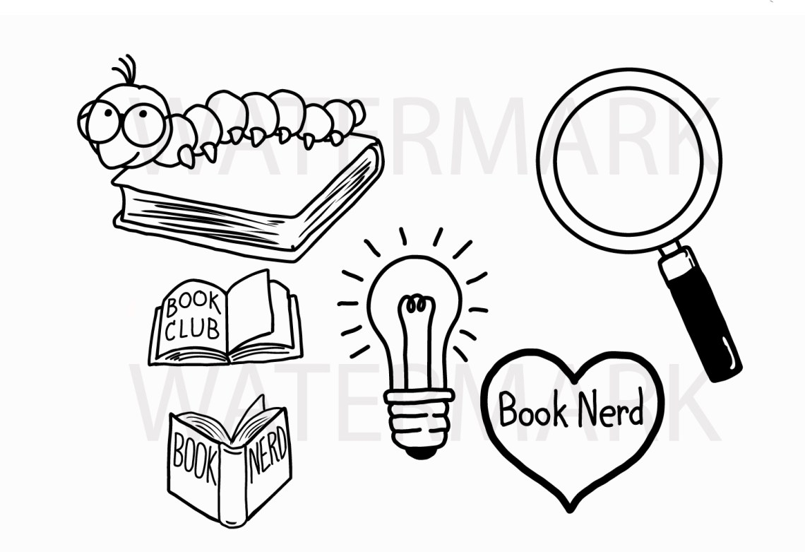Download Book Worm and Book Lover Set - SVG/JPG/PNG Hand Drawing