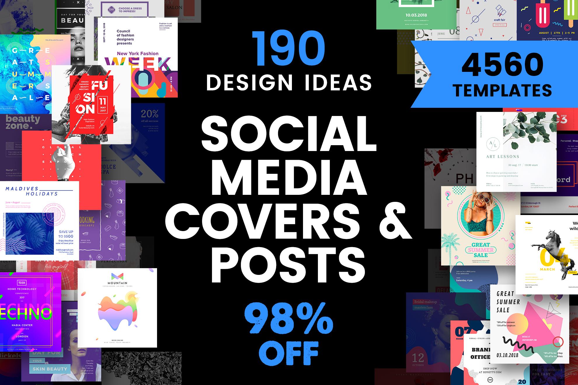 Social Media Cover Post Design Templates Bundle Sale