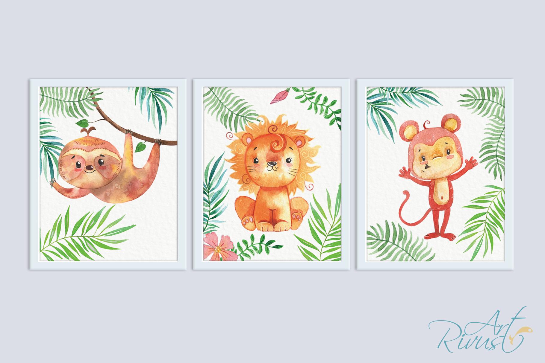 Printable Nursery Art Safari Animals Cute African Wild