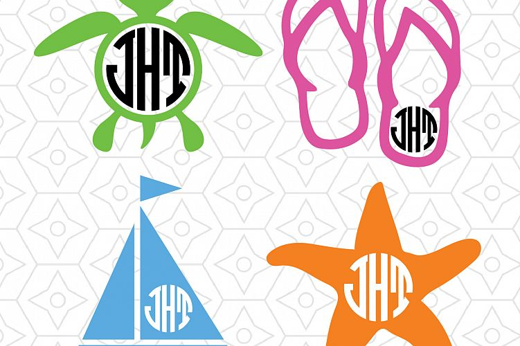 Download Beach Monogram Frame Decal Collection, SVG, DXF and AI ...