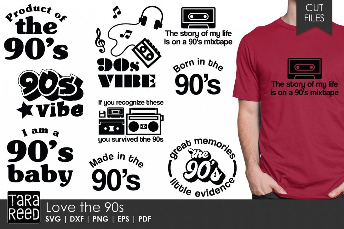 Download Love the 90s - Nineties SVG and Cut Files for Crafters