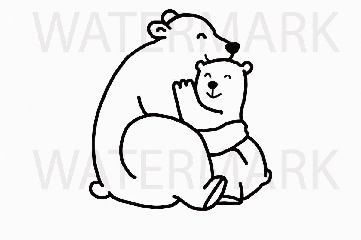 Mama Bear Cuddles Bear Cub