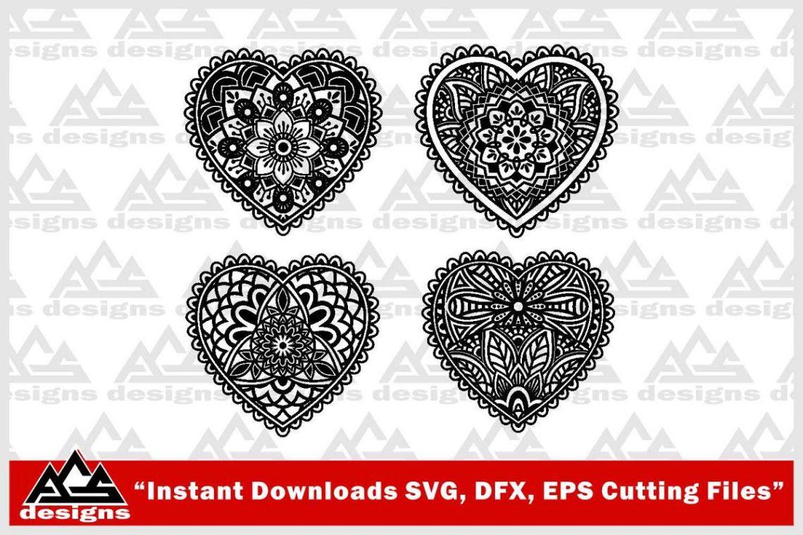 Download Love Heart Mandala Zentangle Svg Design