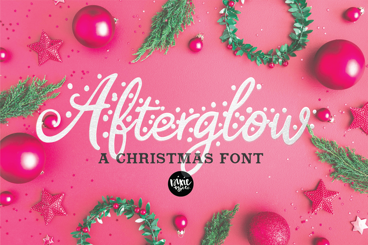 AFTERGLOW a Christmas Snow Holiday Font example image 1