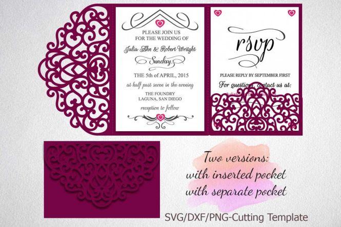 Tri Fold Wedding Invitation Pocket Envelope Svg Dxf Template
