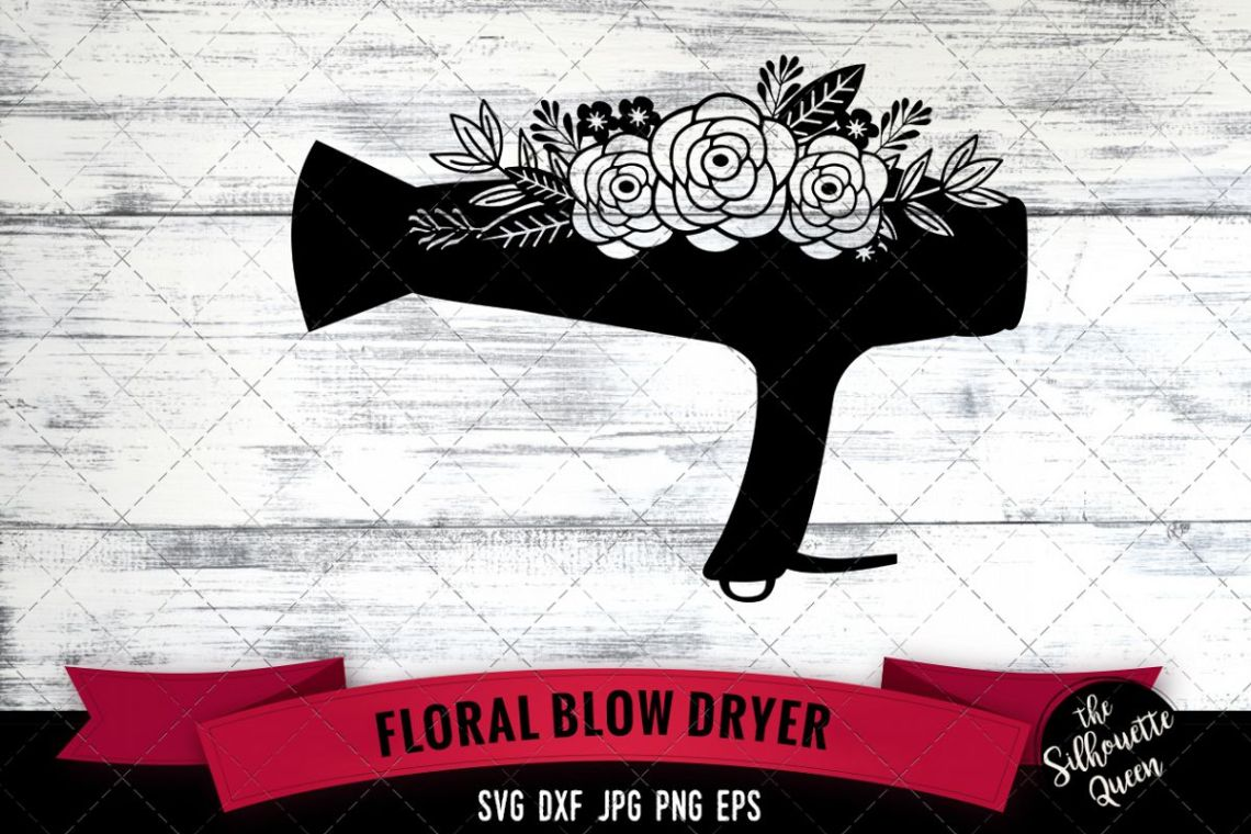 Download Floral Blow Dryer Svg Cut File
