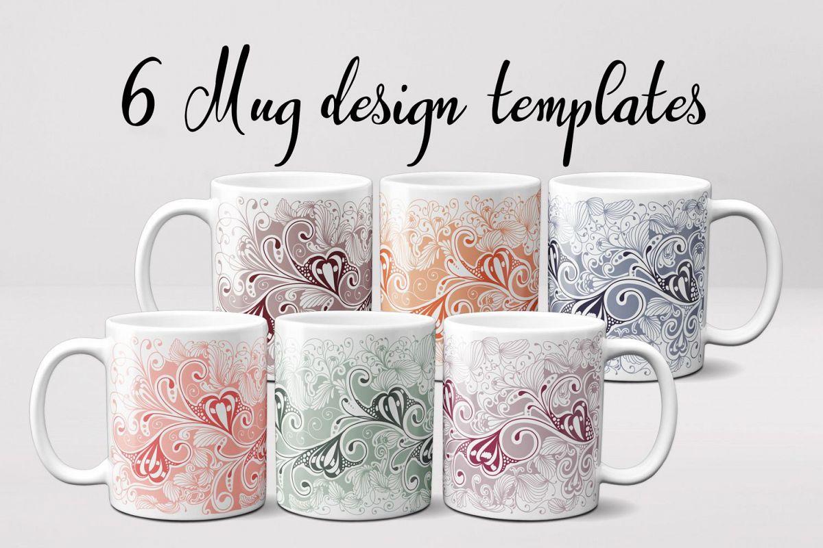 6 Hand Drawn Mug Templates