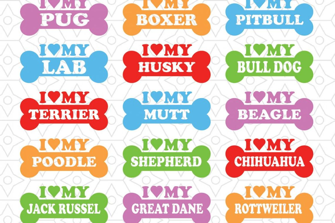 Download I Love My Dog Decal Collection, SVG, DXF and AI Vector ...