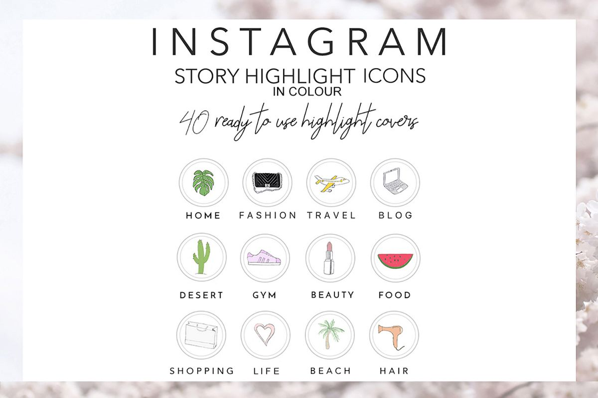 40 Instagram Story Highlights Icons In Colour Hand Drawn