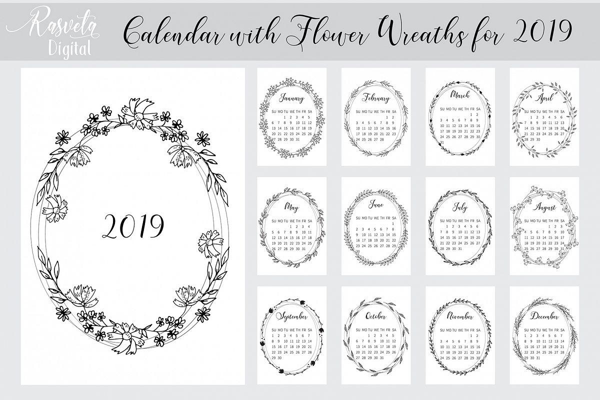 Desk Calendar 2019 Printable A4 Botanical Floral Sketch