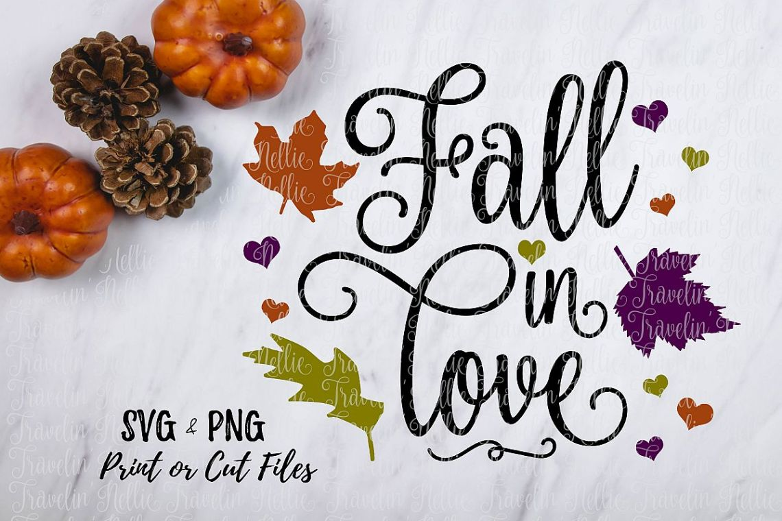 Download Fall In Love SVG Autumn Season Change Leaves Cut Print SVG