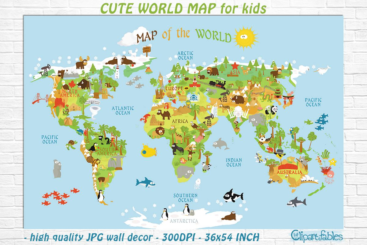 Cute Printable World Map For Kids