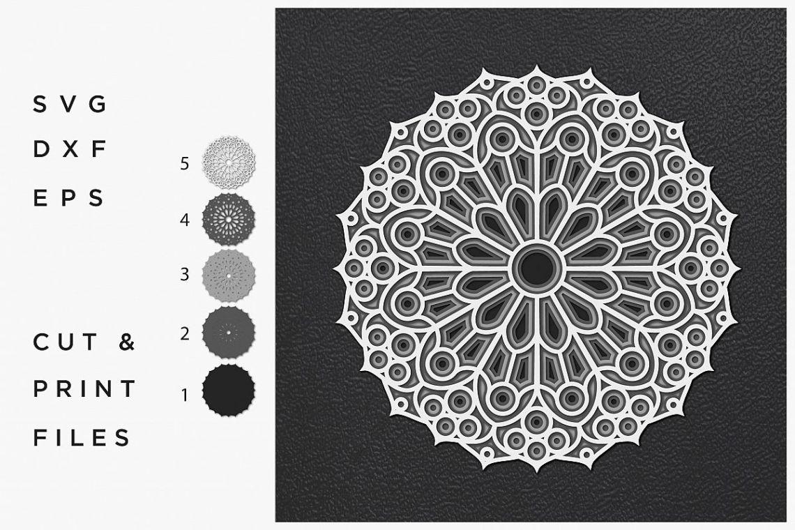 Download Mandala SVG, Cut file Mandala, Cut multilayer Mandala, 3D