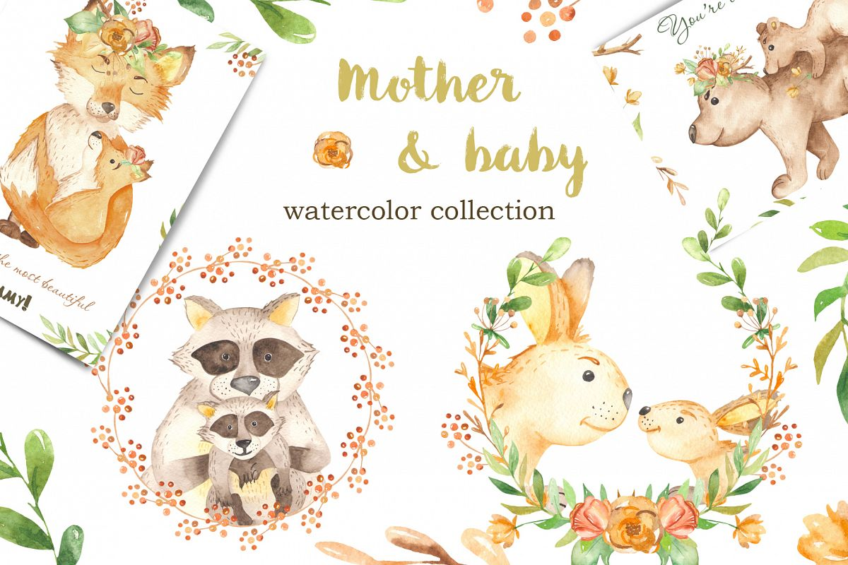 Mother And Baby Animal Watercolor Clipart For Mother S