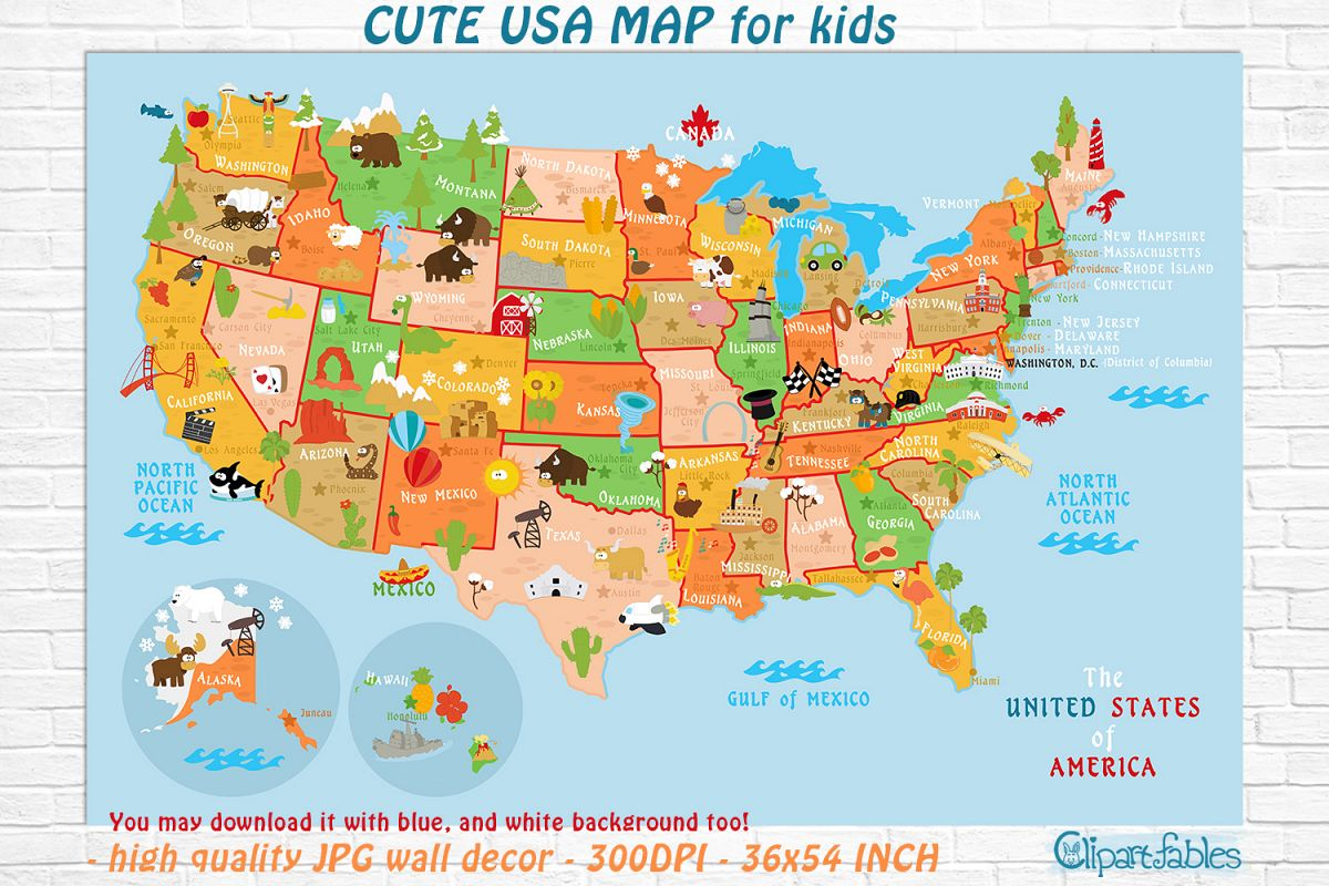 Cute Printable Usa Map For Kids
