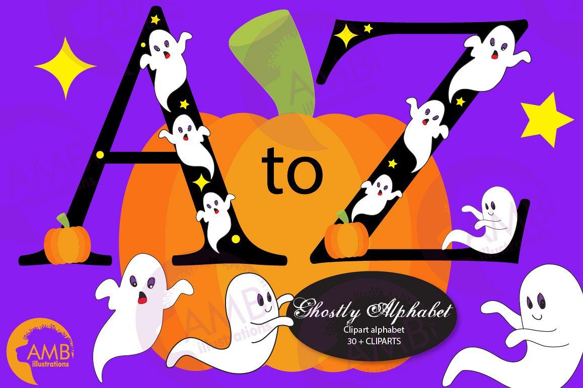 Ghost Alphabet Halloween Letters Alphabet Clipart Amb