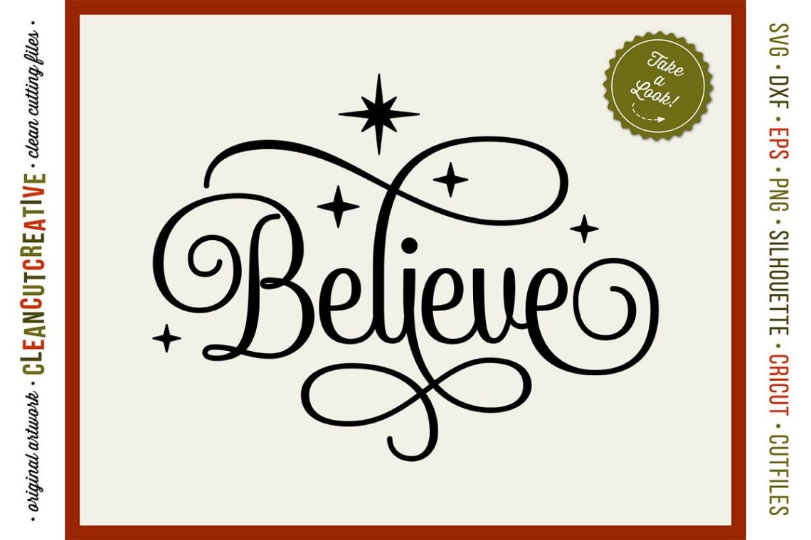 Download BELIEVE in the Magic - Christmas design in SVG DXF EPS PNG