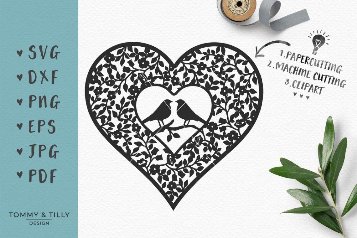 Download Love Birds Vintage Heart - SVG EPS DXF PNG JPG PDF Cut ...