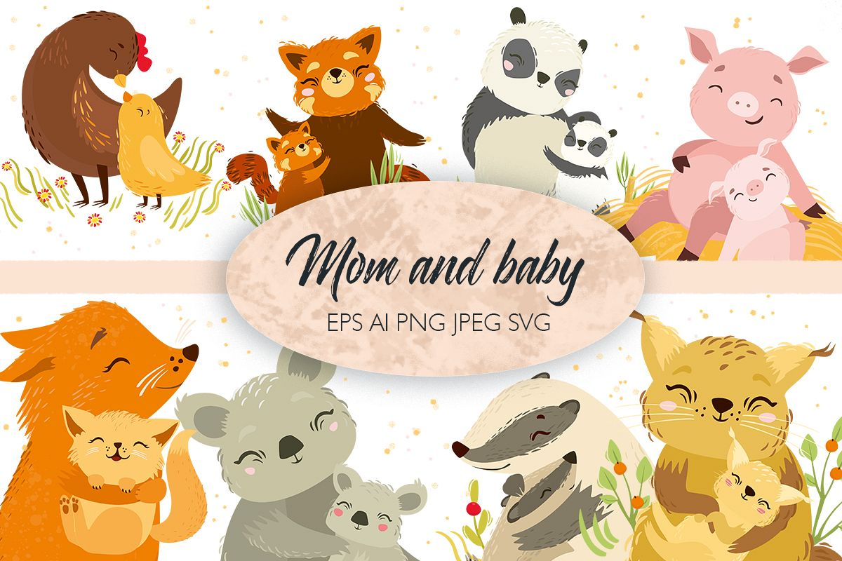 Cute Animals Mom And Baby Svg Vector Animals