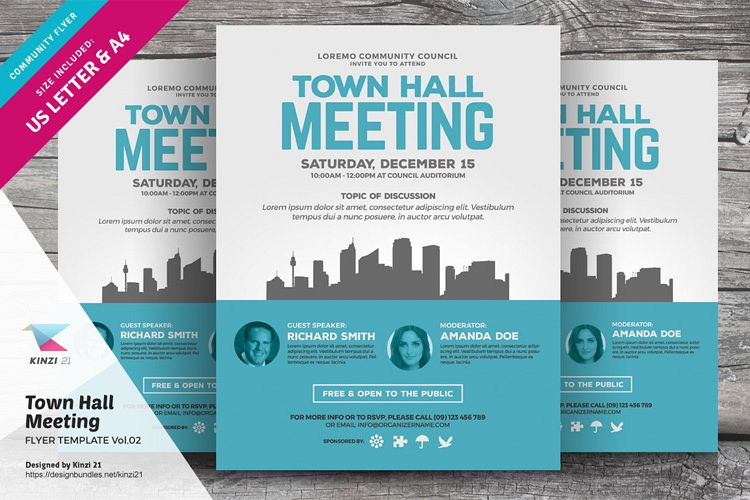 Town Hall Meeting Flyer Template Vol 02