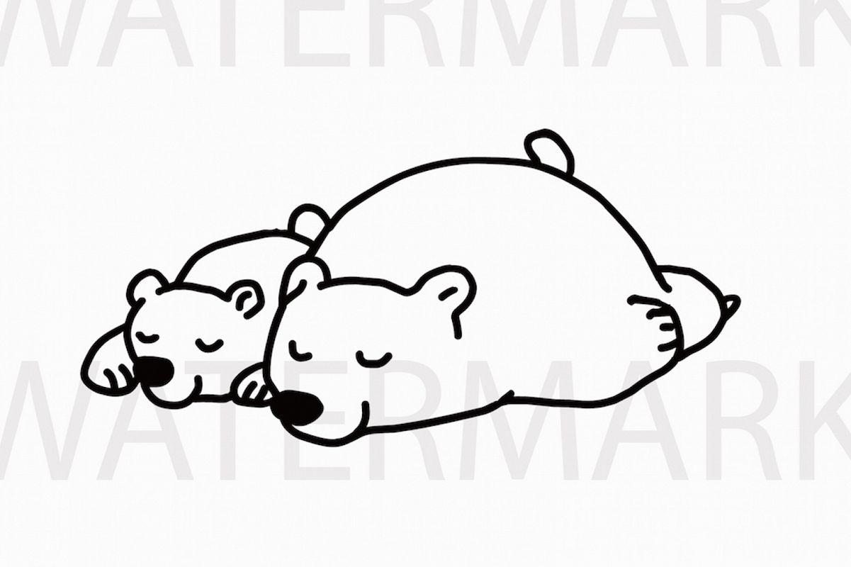 Mama Bear And Bear Cub Sleeping Peacefully