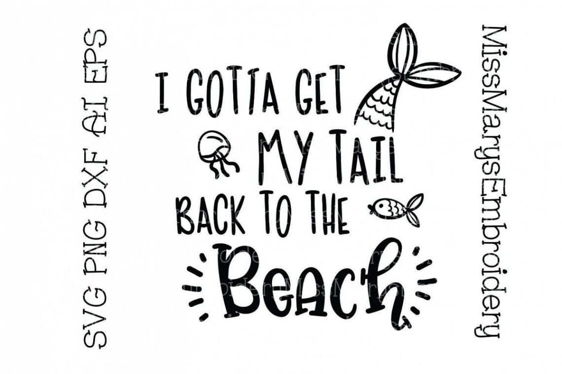 Download Tail Back to the Beach SVG Cutting File PNG DXF AI EPS