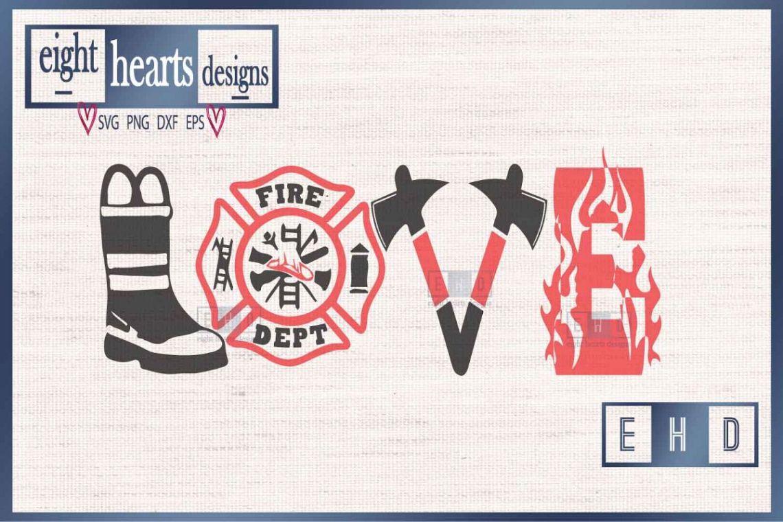 Download Love Firefighter - SVG DXF PNG Cut File (189615)   SVGs ...