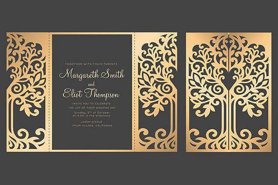 Tree Gate Fold Wedding Invitation 5x7 Cricut Template Quinceanera Card Svg Dxf Silhouette Cameo