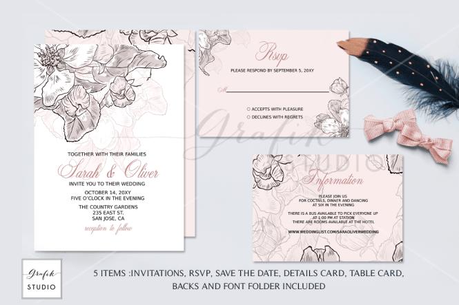 Blush Pink Fl Wedding Invitation Template
