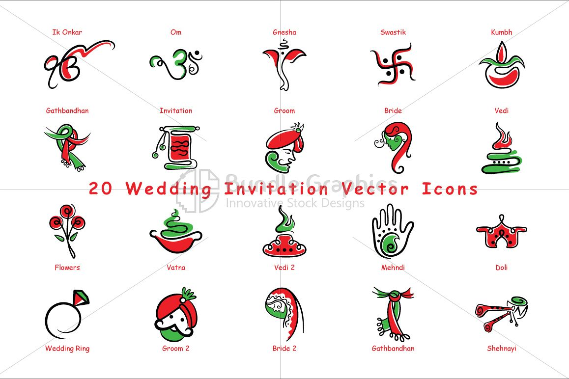 Indian Wedding Invitation Icons Vector Pack Of 20