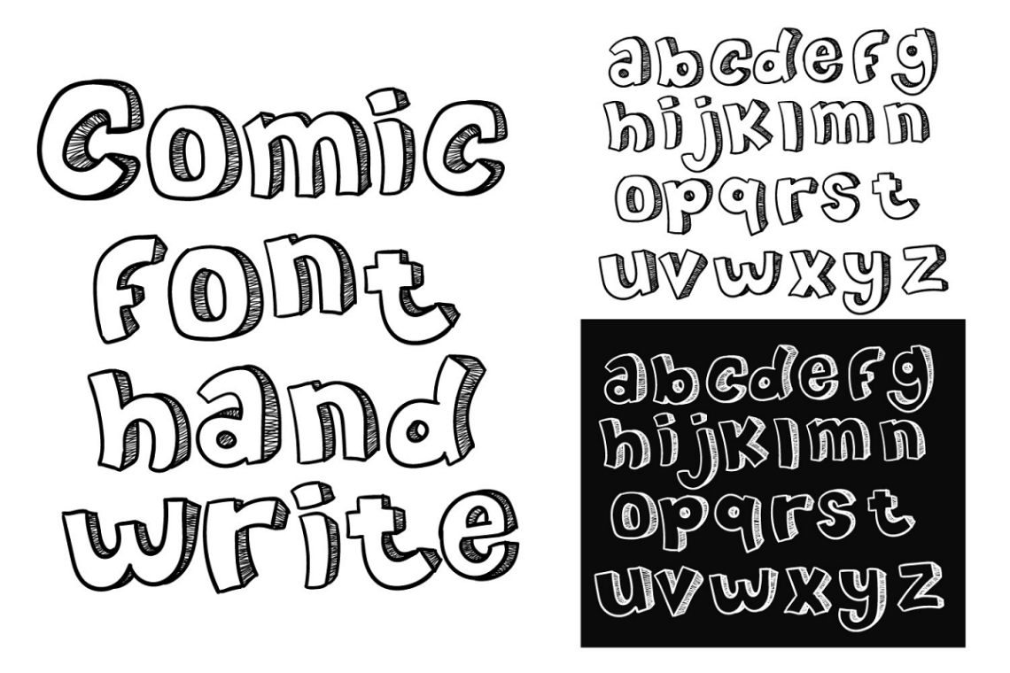 Download comic font hand write doodle vector a-z (135634) | Other ...