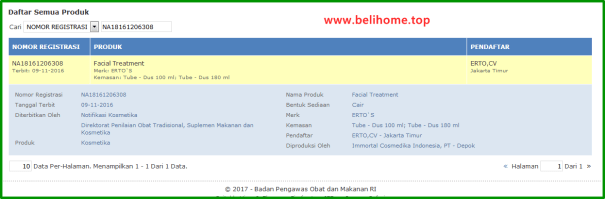 BPOM Ertos Facial Treatment