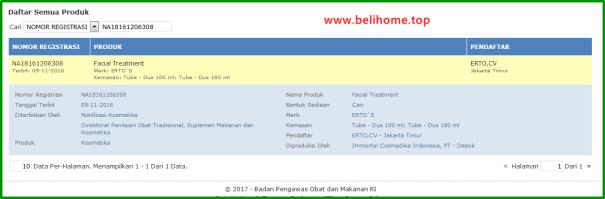 BPOM Ertos Facial Treatment